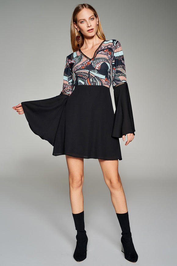 1210159 Black Flower Pattern Dress