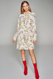 4510581 White Floral Ascot Collar Dress