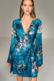 1210184 Blue Flower Pattern Wrap Dress