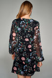 1210144 Black Flower Pattern Dress