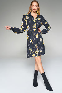 1210165 Black Flower Pattern Dress