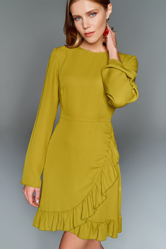 4510586 Green Frill Detail Dress