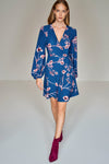 1210183 Blue Flower Pattern Wrap Dress