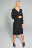 4510605 Black Side Button Dress