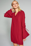 4510625 Bordeaux Sleeve Detail Dress