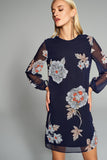 1210205 Navy Flower Pattern Dress