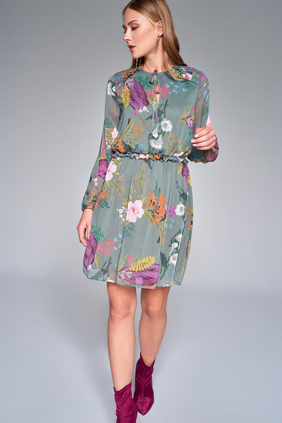 1210193 Green Flower Pattern Dress