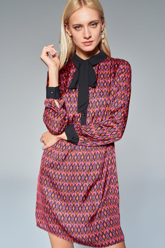 4510645 Multicoloured Tie-Collar Dress