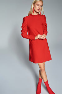 4510649 Red Volan Sleeve Shift Dress