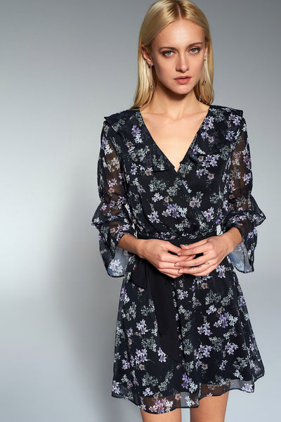 1210155 Black Flower Pattern Dress