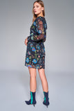 1210157 Black Flower Pattern Dress
