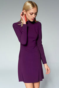 4510660 Purple High Collar Dress