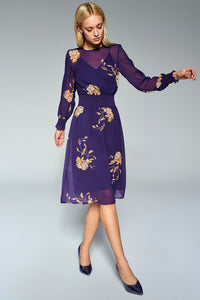 4510662 Purple Waist Pattern Dress