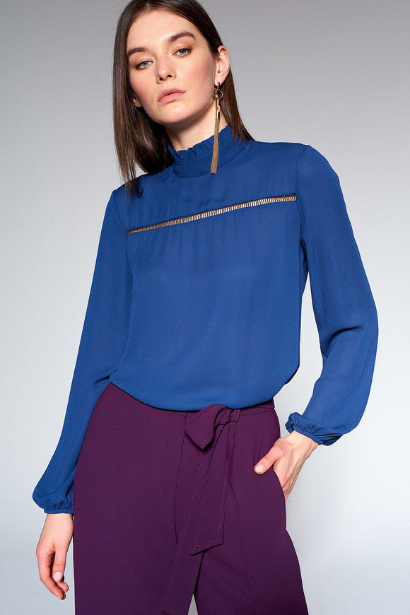 3020201 Blue High-Neck Blouse