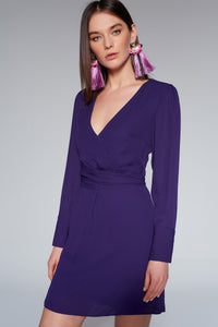 4510666 Purple Wrap Bodice Dress