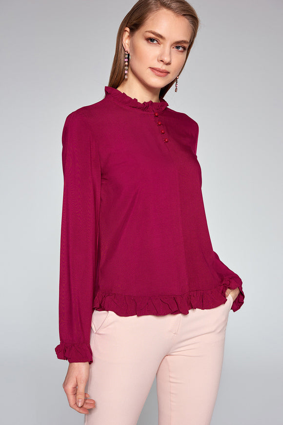 3020362 Burgundy Frilly Blouse