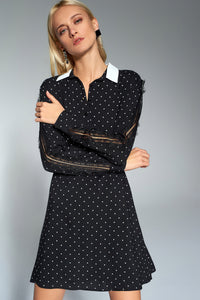 4510675 Black Polka Dot-Lace Detail Dress
