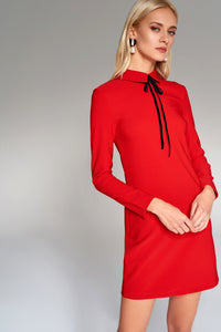 4510676 Red Collared Shift Dress