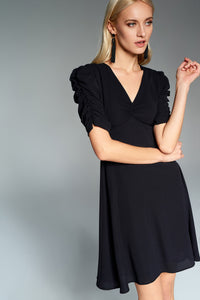 4510683 Black Ruched Sleeve Dress