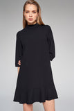 4510688 Black High Collar Dress