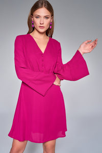 4510689 Fuschia Detail Daily Dress with Button