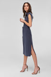 4510851 Navy Blue Lyocell Midi Dress