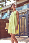 1210710 Yellow Sleeveless Tent Dress