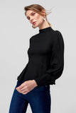 3020246 Black Balloon Sleeve Blouse