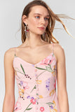 1210529 Pink Floral Button Slip Dress