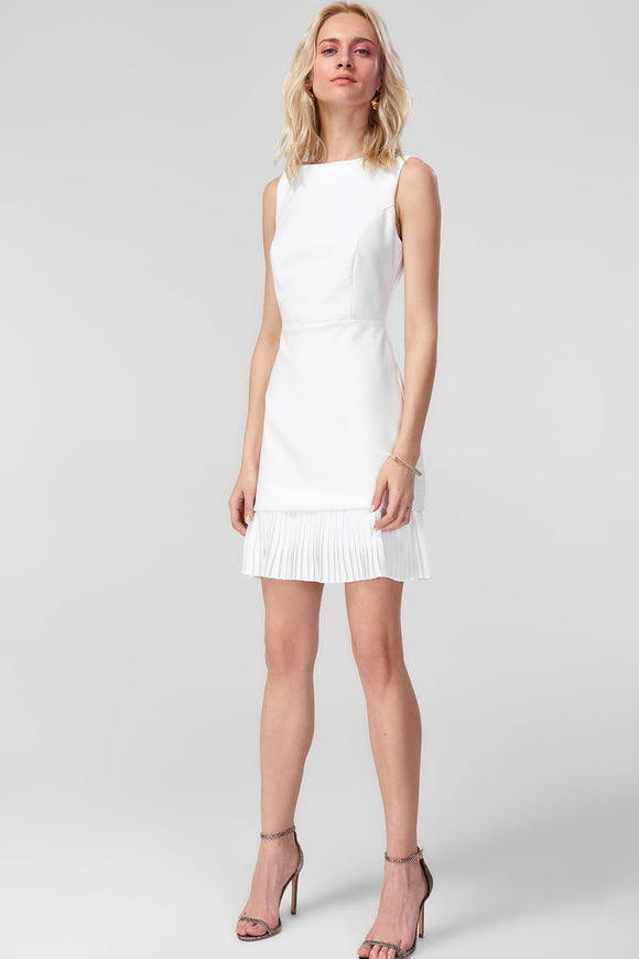 4510780 White Pleated Frill Dress