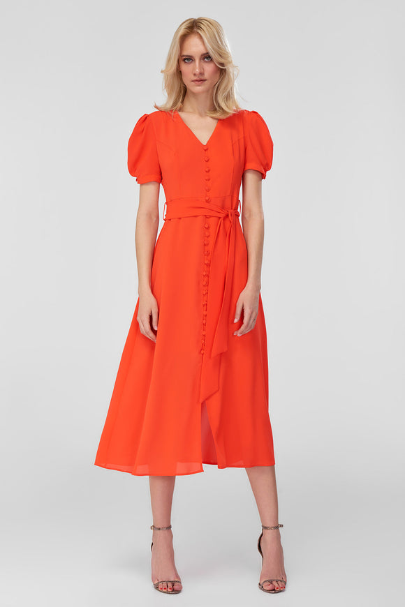 4510881 Orange Front Button Dress