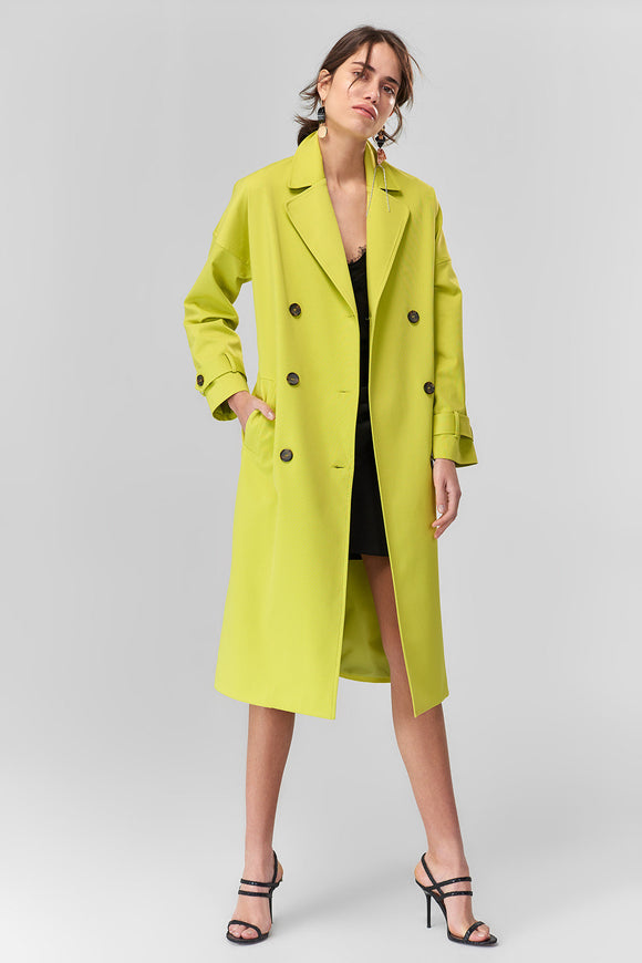 3550030 Lime Green Trench Coat