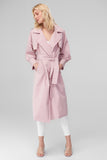 3550038 Pink Balloon Sleeve Trench Coat