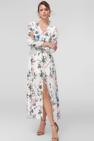 1210400 Multi Colour Floral Slit Dress
