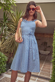 1210470 Blue Check Flare Dress