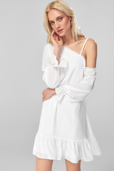 1210516 Off-White Tiered One Shoulder Dress