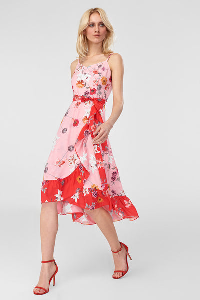 1210526 Pink-Red Wrap Skirt Floral Dress