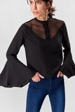 3020304 Black Lace and Button Blouse
