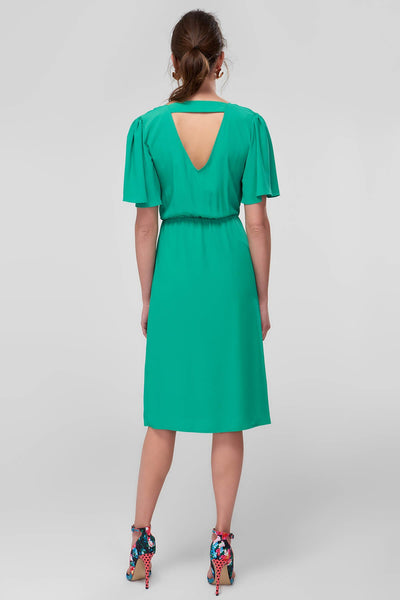 1210813 Green Cutout Back Dress