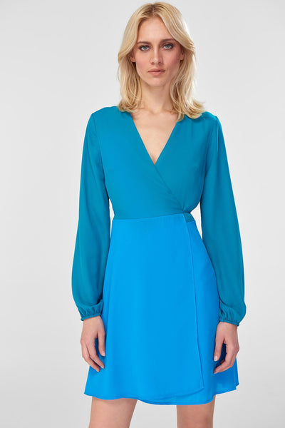 x417 Blue Renk Bloklu Dress