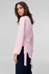 3020343 Pink Tie Back Blouse