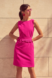 4510818 Fuschia Ruffle Belt Dress