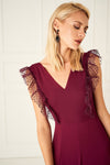 1310002 Plum Lace Collar Detail Dress