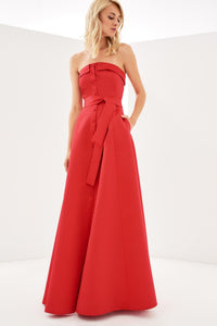 1310131 Red Strapless Long Dress