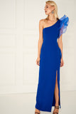 1310160 Blue One Shoulder Volan Dress