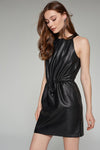 1210134 Black Faux Leather Dress