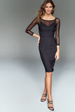 4610076 Black Tulle Decolletted Bodycon Dress