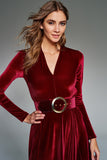 4510012 Bordeaux Velvet Dress