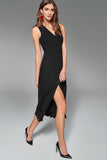 4510706 Black Flared Front Slit Dress