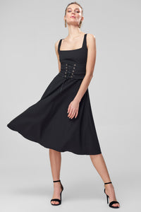 4510004 Black Waist Corset Detail Dress